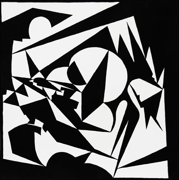 10) Contrast, Linocut, 13''x14'',1999