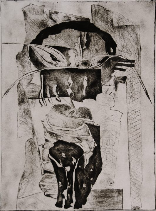 5) Reflection, Drypoint, 19''x14'', 2004