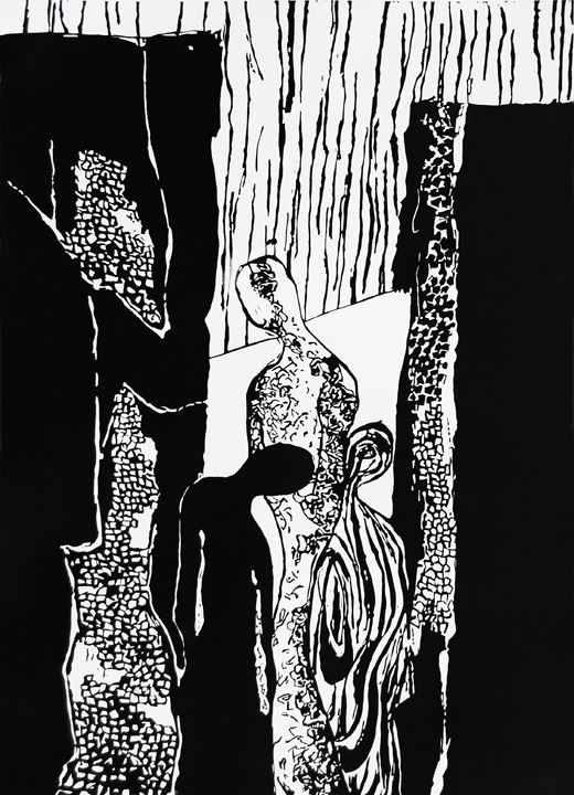 6) Repouse, Linocut, 19''x13'', 2001