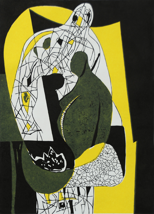 9) Three,Linocut, 18''x13'', 2003